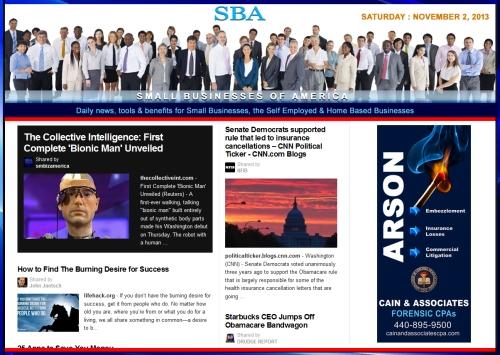 SBA Small Businesses of America 110213 news, smbiz, cain and associates