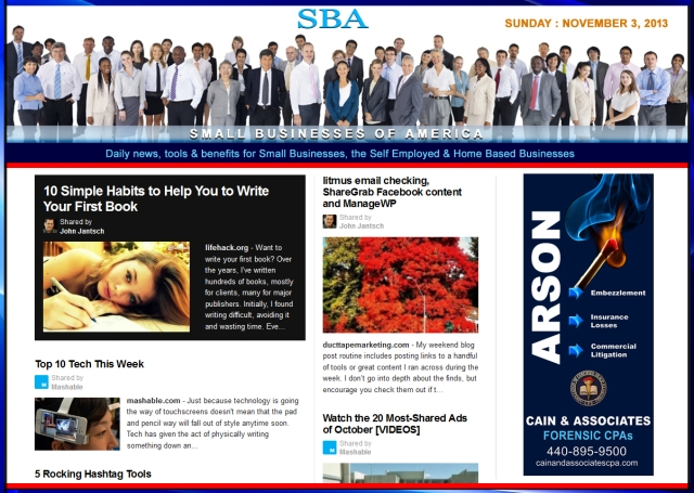 SBA Small Businesses of America 110313 news, smbiz, cain and associates