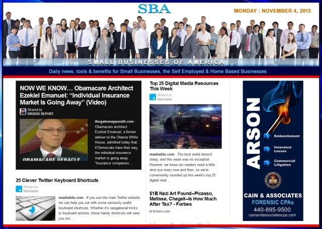SBA Small Businesses of America 110413 news, smbiz, cain and associates