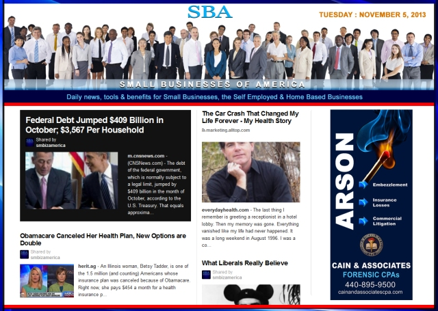 SBA Small Businesses of America 110513 news, smbiz, cain and associates