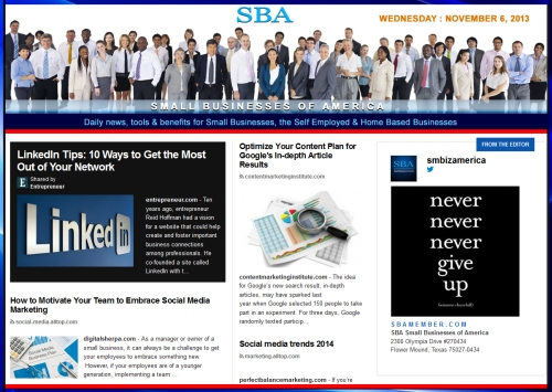 SBA Small Businesses of America 110613 news, smbiz, cain and associates