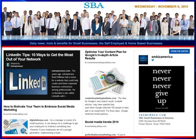 SBA Small Businesses of America 110613 news, smbiz, cain and associates