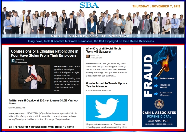 SBA Small Businesses of America 110713 news, smbiz, cain and associates