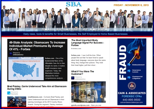 SBA Small Businesses of America 110813 news, smbiz, cain and associates