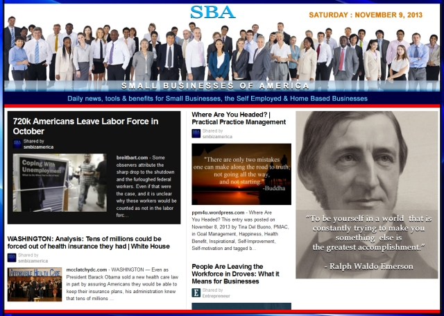SBA Small Businesses of America 110913 news, smbiz, cain and associates ralph waldo emerson