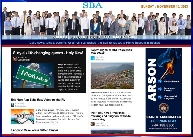 SBA Small Businesses of America 111013 news, smbiz, cain and associates
