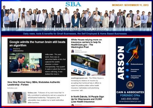 SBA Small Businesses of America 111113 news, smbiz, cain and associates, smbizamerica