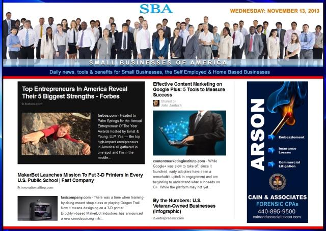 SBA Small Businesses of America 111313 news, smbiz, cain and associates, smbizamerica, smb, smallbiz