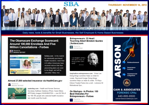 SBA Small Businesses of America 111413 news, smbiz, cain and associates, smbizamerica, smb, smallbiz, forensic accounting