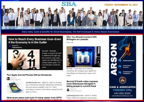SBA Small Businesses of America 111513  smbiz, cain and associates, smbizamerica, smb, smallbiz, forensic accounting, news