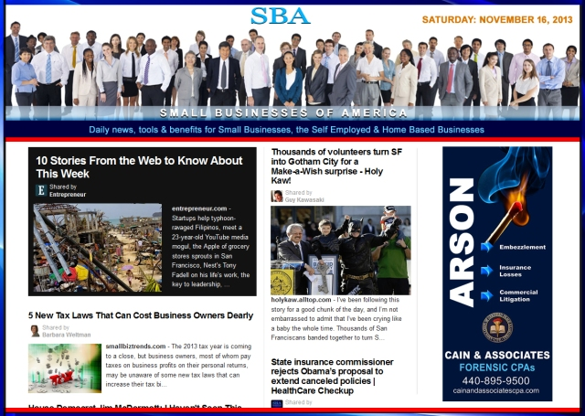 SBA Small Businesses of America 111613  smbiz, cain and associates, smbizamerica, smb, smallbiz, news