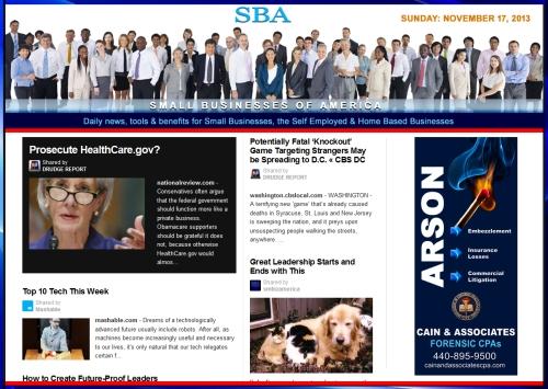 SBA Small Businesses of America 111713  smbiz, cain and associates, healthcare, smbizamerica, smb, smallbiz, news