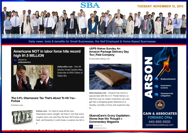 SBA Small Businesses of America 11213 news, smbiz, cain and associates, smbizamerica