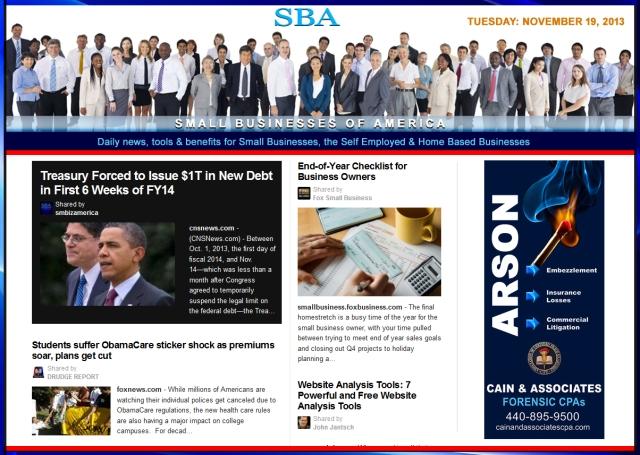 SBA Small Businesses of America News 111913  smbiz, cain and associates, health insurance, smbizamerica, smb, smallbiz