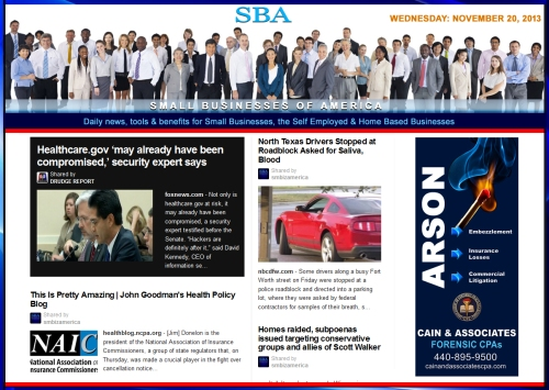 SBA Small Businesses of America News 112013  smbiz, cain and associates, health insurance, smbizamerica, smb, smallbiz, NAIC