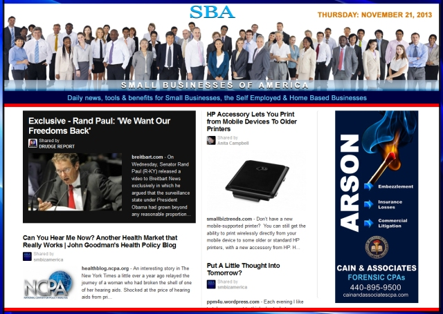 SBA Small Businesses of America News 112113  smbiz, cain and associates, health insurance, smbizamerica, smb, smallbiz, entrepreneur copy
