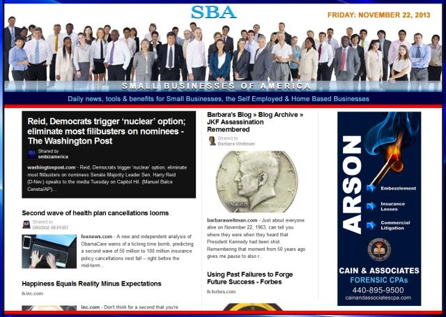 SBA Small Businesses of America News 112213 smb, smbiz, smbiznews, smallbiz, smallbiznews, entrepreneur