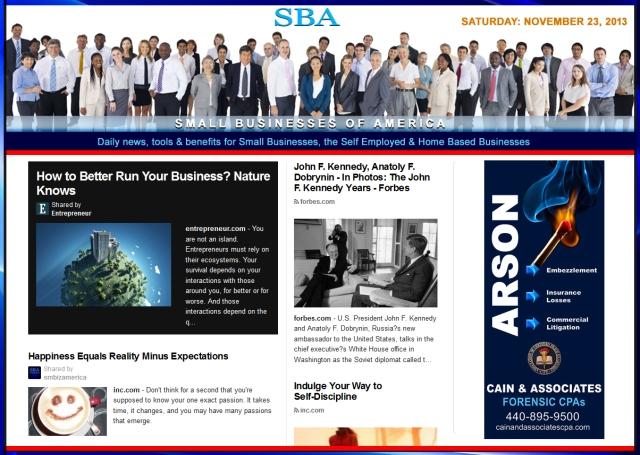 SBA Small Businesses of America News 112313 smb, smbiz, smbiznews, smallbiz, smallbiznews, entrepreneur, cain and associates ad