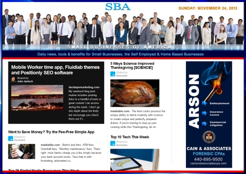 SBA Small Businesses of America News 112413 smb, smbiz, smbiznews, smallbiz, smallbiznews, entrepreneur, cain and associates