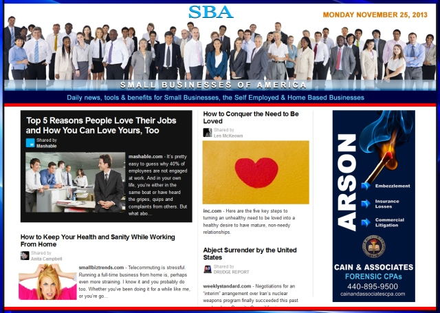 SBA Small Businesses of America News 112513 smb, smbiz, smbiznews, smallbiz, smallbiznews, entrepreneur, cain and associates