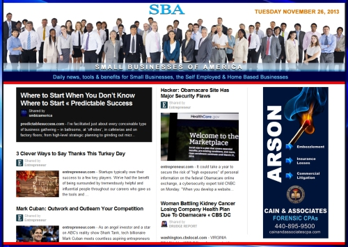 SBA Small Businesses of America News 112613 smb, smbiz, smbiznews, smallbiz, smallbiznews, entrepreneur, cain and associates