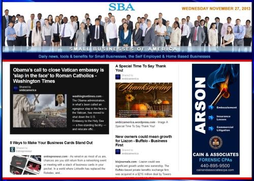 SBA Small Businesses of America News 112713 smb, smbiz, smbiznews, smallbiz, smallbiznews, entrepreneur, cain and associates