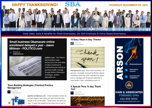 SBA Small Businesses of America News 112813 smb, smbiz, smbiznews, smallbiz, smallbiznews, entrepreneur, cain and associates