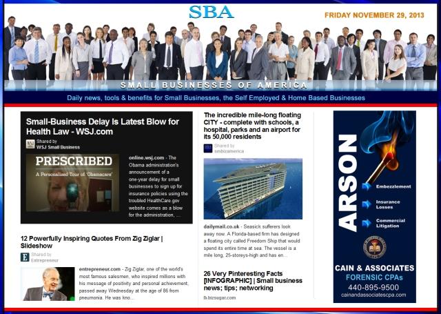 SBA Small Businesses of America News 112913  smbiz, smbiznews, smallbiz, smallbiznews, entrepreneur, cain and associates