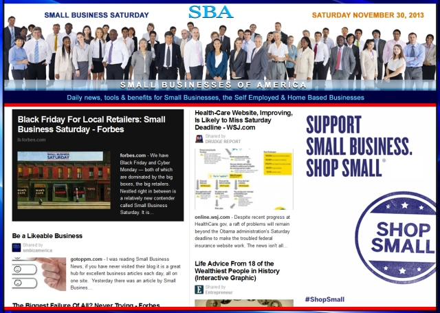 SBA Small Businesses of America News 113013 shop small small business saturday 2013