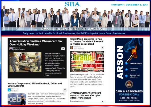 SBA Small Businesses of America 120513 news, smbiz, smbizamerica