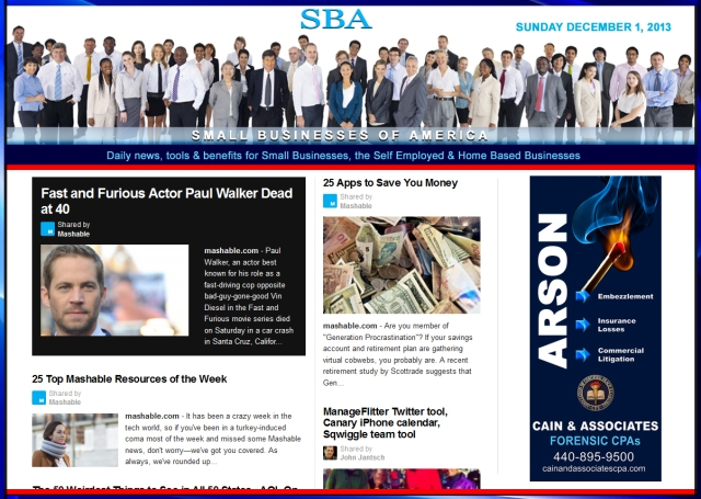 SBA Small Businesses of America News 120113 smb, smbiz, smbiznews, smallbiz, smallbiznews, entrepreneur, cain and associates