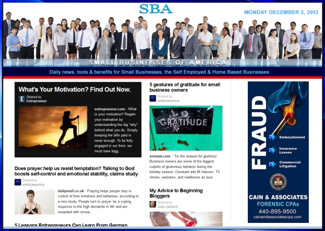 SBA Small Businesses of America News 120213 smb, smbiz, smbiznews, smallbiz, smallbiznews, entrepreneur, cain and associates