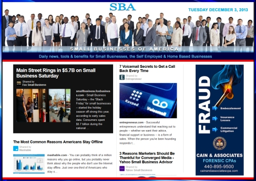 SBA Small Businesses of America News December 3 2013