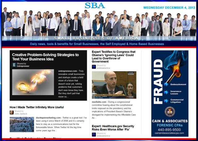 SBA Small Businesses of America News 120413 smb, smbiz, smbiznews, smallbiz, cain and associates