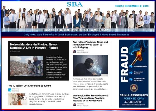 SBA Small Businesses of America News 120613 smb, smbiz, smbiznews, cain and associates