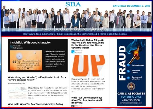 SBA Small Businesses of America News 120713 smb, smbiz, smbiznews