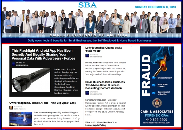 SBA Small Businesses of America News 120813 smbiznews