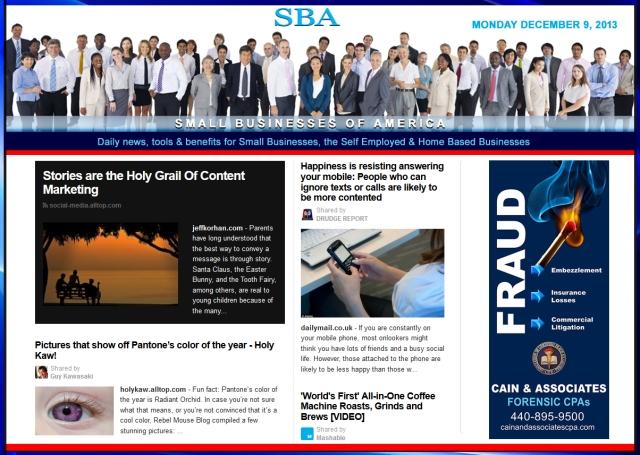 SBA Small Businesses of America News 120913 smbiz, smbiznews, smbizamerica, CAIN AND ASSOCIATES