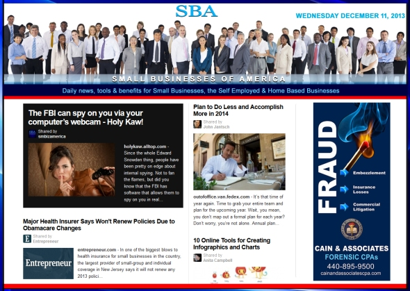 SBA Small Businesses of America News 121113 smbiz, smbiznews, smbizamerica, CAIN AND ASSOCIATES