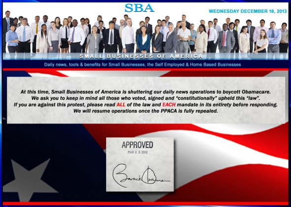 SBA Small Businesses of America News Boycott Obamacare