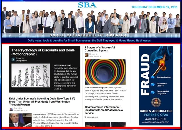Small Businesses of America News 121213 smbiz, smbiznews, smbizamerica, CAIN AND ASSOCIATES