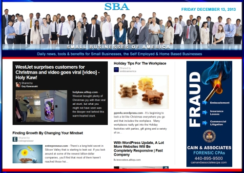 Small Businesses of America News 121313 smbiz, smbiznews, smbizamerica, CAIN AND ASSOCIATES copy