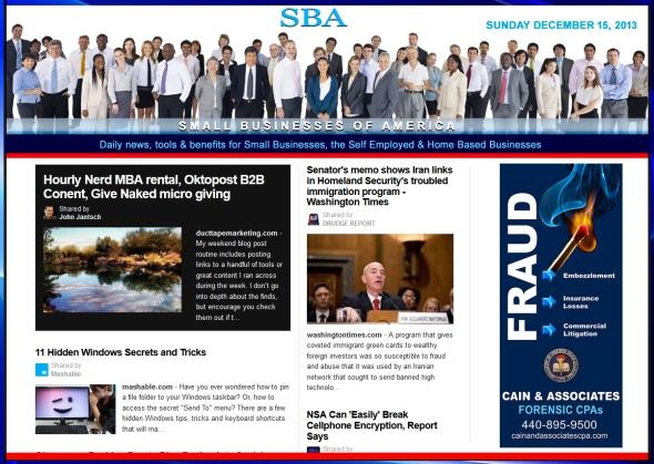 Small Businesses of America News 121513 smbiz, smbiznews, smbizamerica, CAIN AND ASSOCIATES