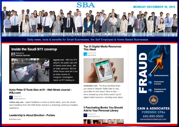 Small Businesses of America News 121613 Ad Cain and Associates