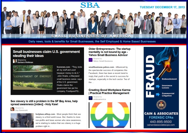 Small Businesses of America News 121713 Ad Cain and Associates