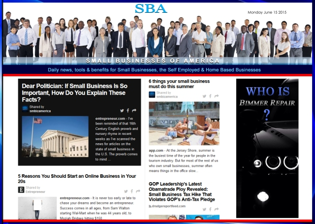 SBA Small Businesses of America News 06152015 SMBIZ SMBIZNEWS SMBIZAMERICA SMB BIMMER REPAIR ADVERTISER