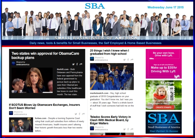 SBA Small Businesses of America News 061715 #smbiz #smbizamerica #smbiznews #news #america