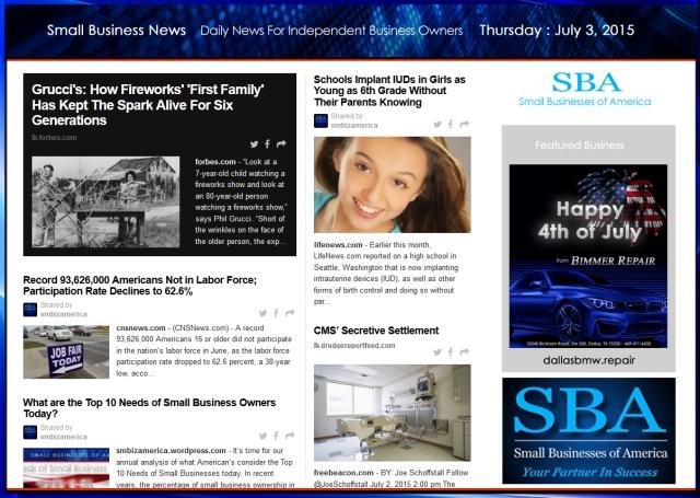 Small Business News 070315 SMBIZ #smbiz #smallbusiness #smallbiz #news #sbanews #small business news