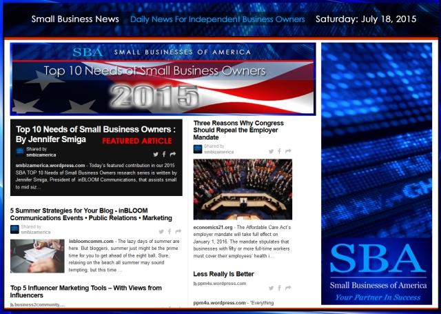 Small Business News 07182015 SMBIZ AMERICA #smallbusiness #smbiz