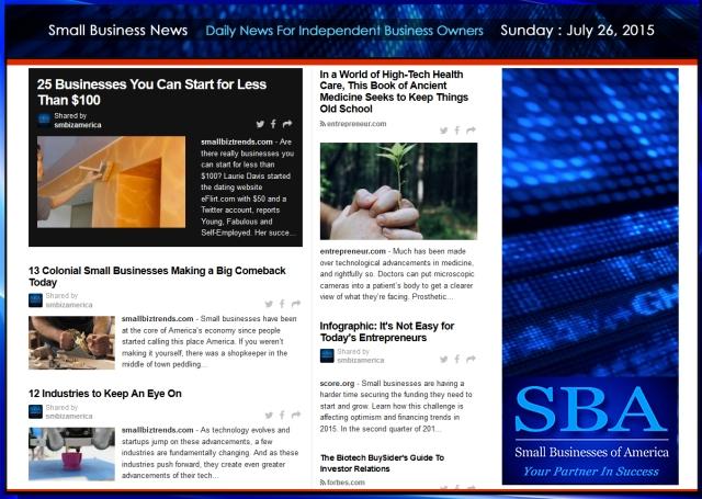 Small Business News 07262015 SMBIZ AMERICA #smallbusiness #smbiz #america #news